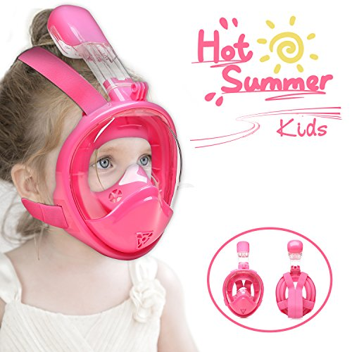 VERLIFE Snorkel Mask Full Face for Kids with Anti-Fog Anti-Leak Design, 2018 Newest Generation Upgraded Free Breathing GoPro Compatible Kids Snorkeling Set (Pink for Child, Extra Small)