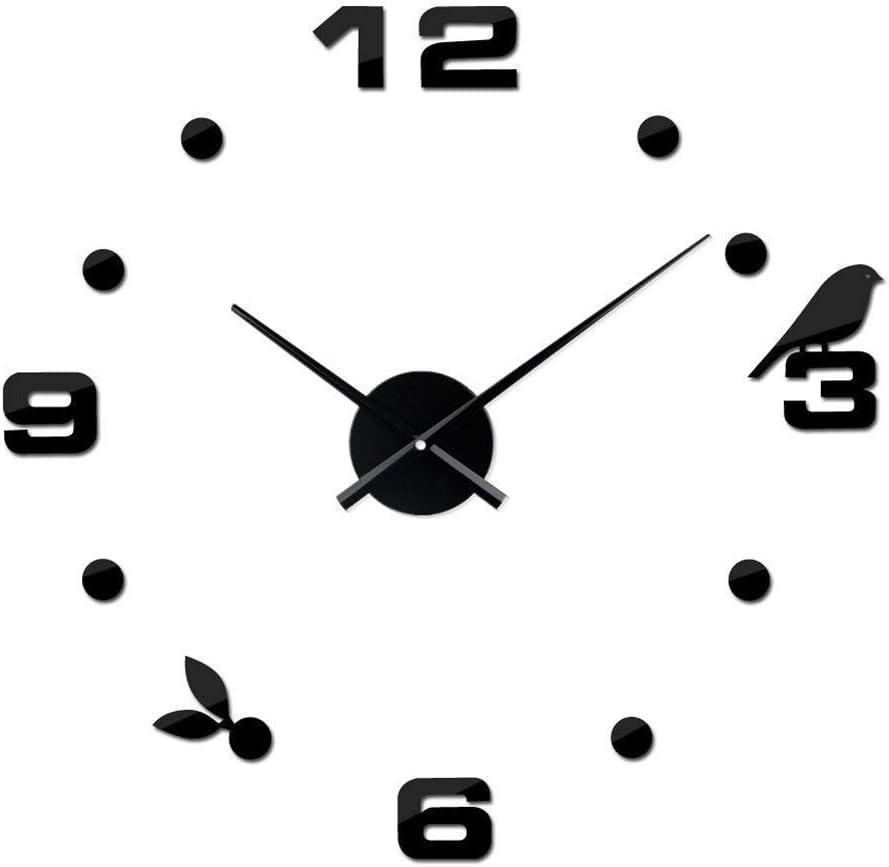 WLA Sala Reloj de Pared Simple pájaro Creativo del Reloj de Pared de DIY Adhesivos Decorativos Relojes, no Batería (Color: Negro, tamaño: los 80-120cm) (Color : Black, Size : 80-120cm)
