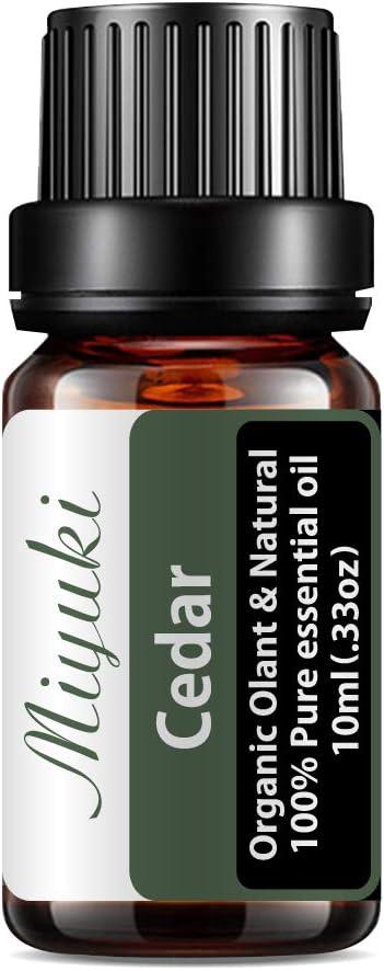 MIYUKI Cedar Essential Oil Organic Olant & Natural 100% Pure Therapeutic Grade Cedar Oil - Perfect for Diffuser, Humidifier, Massage, Aromatherapy, Skin & Hair Care-10ml