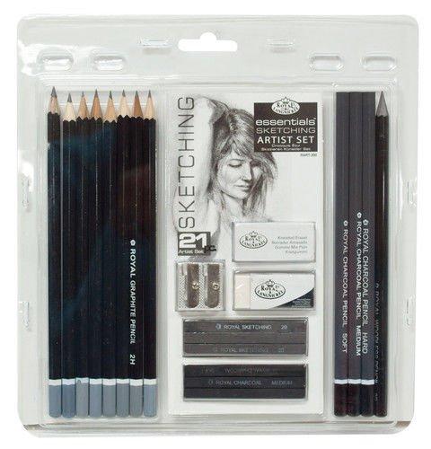 Phantomx 21 Piece Graphite Pencil Sketching & Charcoal Drawing Sticks Artist Set RART200