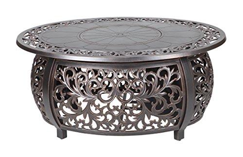 Fire Sense 62198 Toulon Oval Fire Pit, Antique Bronze Cast Aluminum Oval Table