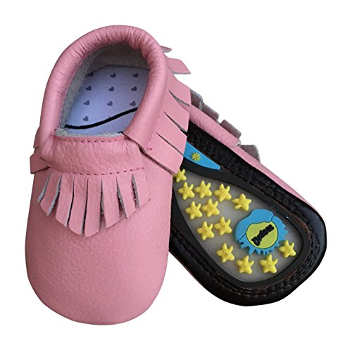 Lucky Love Baby Moccasins • Leather • Infant, Babies & Toddlers Shoes for Girls and Boys (6-12 months | size 3.5 US, Hard Sole (Little Girl Walking)