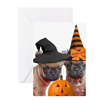 8f141dbad71 Amazon.com   CafePress - Halloween French Bulldogs Greeting Cards -  Greeting Card