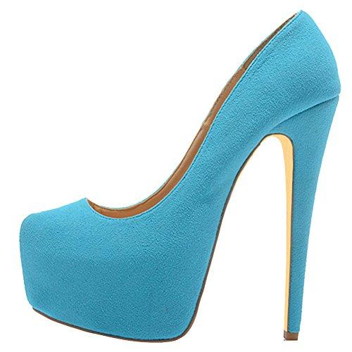 MERUMOTE - Zapatos de Plataforma mujer Blue-Suede