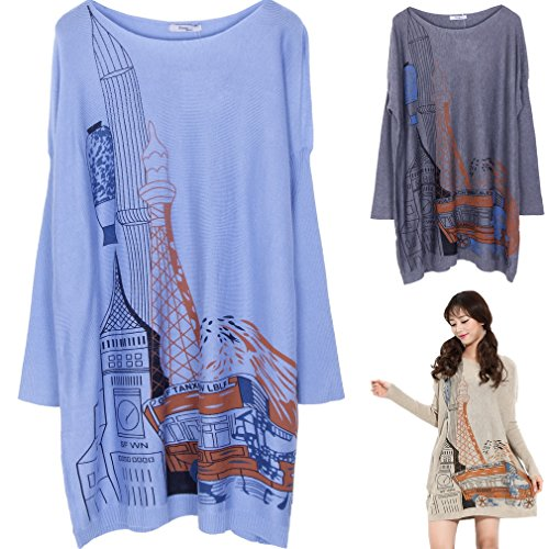 Longues Clair Robe Col Rond Bleu Ru Manches Confortable Sweater Xiang Pull Large Blouse AF0n6wWWx