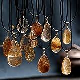 Gold Happy Natural Stones Rutilated Quartz Pendant Hair Crystal Free Necklace Mineral Specimen Garden Crystal Gost Quartz Jewelry Energy