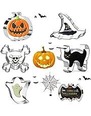 GUBOOM Uitsteekvormen, Halloween uitsteekvormpjes set - 6 stuks roestvrijstalen kat, doodskop, grote vleermuis, pompoenen, ronde kop geest, tovenaarshoed, uitsteekvormpjes voor kinderen, voor bakken met kinderen