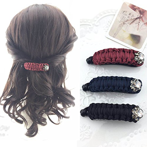 Korean ponytail hair accessories hairpin clip ribbon diamond oval hollow cross folder chuck twisted braids small jewelry for women girl (Band Oval Cross)