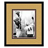 New Orleans Saints Black Wood Frame with a Triple Mat - Old Gold, Black, and Football Textured Mats