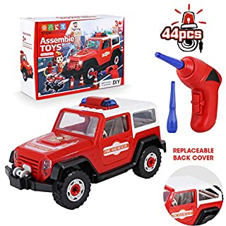 Take Apart Car Toy for Boys DIY Assembly Toy Set STEM Learning Building Toy Construction Kit Realistic Lights & Sounds with Electric Toy Drill for Toddler and Kids(44 PCS)