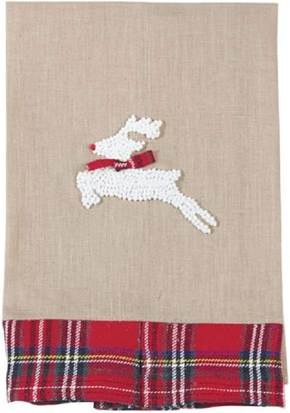 Rudolph The Red Nosed Reindeer Tartan Plaid French Knot Tea Towel