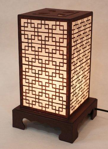 Mulberry Rice Paper Shade Lattice Pattern Korean Window Design Square Handmade Lantern Brown Asian Oriental Decorative Bedside Accent Unusual Table Lamp
