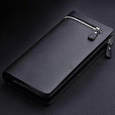 LvBo Men's Bifold Leather Zip Coin Handbag Multi Card Holder Purse Long Wallet Clutch