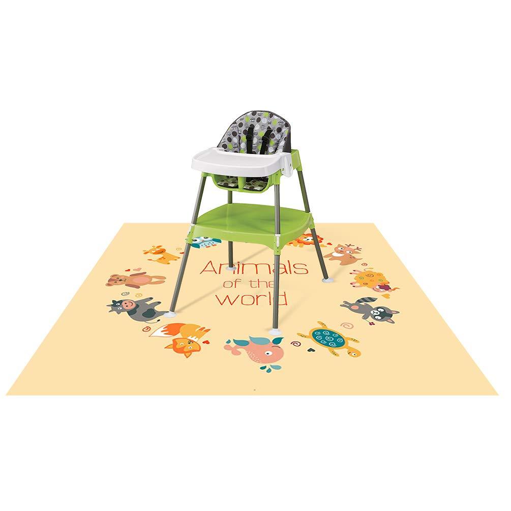 Splat Mat for Under High Chair/Arts/Crafts, Wo Baby Reusable Waterproof Anti-slip Floor Splash Mat, Portable Play Mat and Table Cover (Seaworld, 51') 51) TENTEK