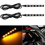 Partsam LED Strip Light Bar 2 x 6 LED Mini Black Third Brake Light Motorcycle Turn Signal Backup License Plate Universal Amber Lights Strip