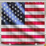 BINGO FLAG Funny Fabric Shower Curtain Red USA Flag Waterproof Bathroom Decor With Hooks 60 X 72 Inch