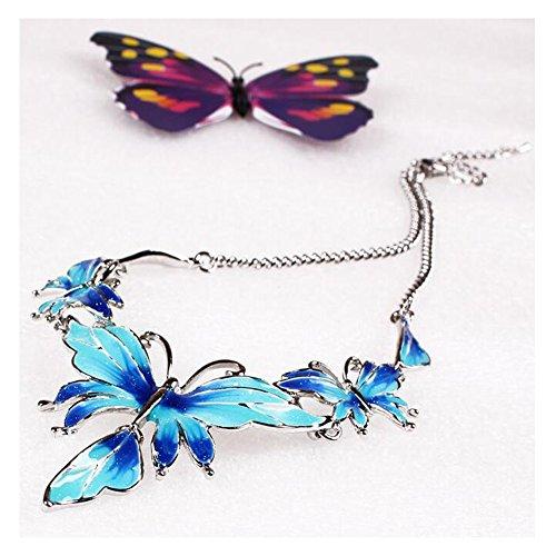 Darkey Wang Women's Fashion Wild Enamel Butterfly Necklace Earrings - Quarter Shops Scottsdale