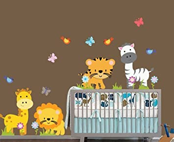 Amazoncom Nursery Zoo Animals Vinyl Wall Decals Baby - Vinyl wall decals animals