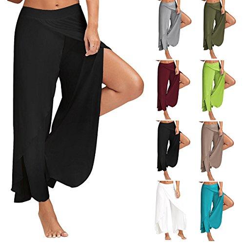 fb92fb6c656 Zcargel Women s High Waist Slit Wide Leg Yoga Pants Layered Flowy Cropped Palazzo  Pants