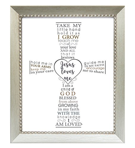 The Grandparent Gift Jesus Loves Me Frame for Baby's Baptism or Christening, Silver -
