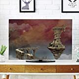 iPrint LCD TV dust Cover,Fantasy Decor,Fairy Tale Medieval Castle High Clouds in Foggy Mist Air Magical Scenery,Tan Coral Blue,3D Print Design Compatible 70'' TV
