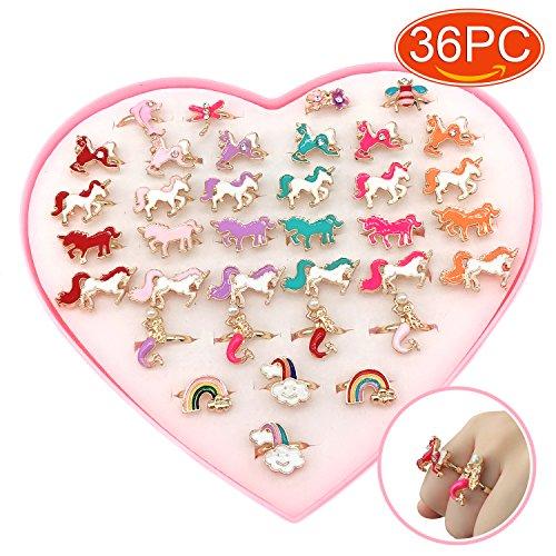 Elesa Miracle 36pcs Children Kids Little Girl Adjustable Mermaid Unicorn Jewelry Rings in Box, Random Shape and Color, Girl Pretend Play and Dress up Unicorn Rings -