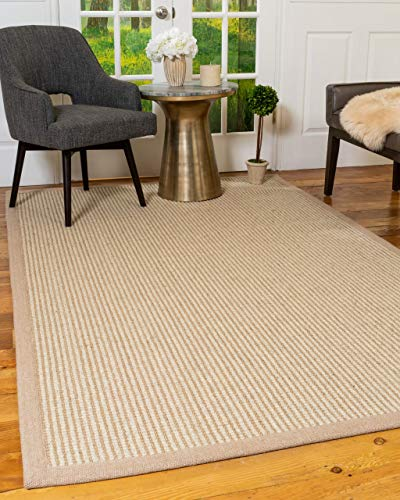 Natural Area Rugs Natural Fiber, Hand Loomed Wisdom Beige Jute Wool Rug 5 x 8