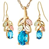 """Blue Topaz Earrings and Pendant Necklace Set, 10k Yellow Gold, 12k Green and Rose Gold Black Hills Gold Motif, 18"""""""