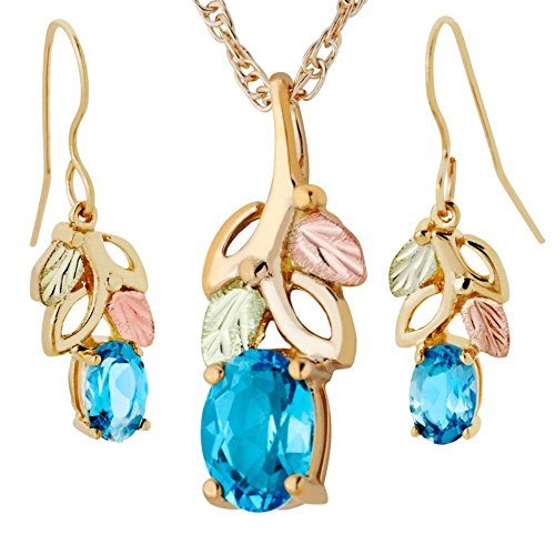 Blue Topaz Earrings and Pendant Necklace Set, 10k Yellow Gold, 12k Green and Rose Gold Black Hills Gold Motif, 18