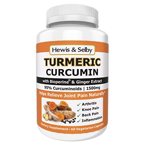 20 Mg 60 Veggie Caps - Hewis & Selby Turmeric Curcumin 1500mg Capsules - 95% Standardized Curcuminoids, Black Pepper & Ginger - 60 Veggie Caps - Natural Joint Pain Relief & Anti-Inflammatory - Made in USA