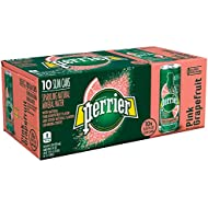 Perrier Pink Grapefruit Flavored Carbonated Mineral Water, 8.45 fl oz. Slim Cans (10 Count)
