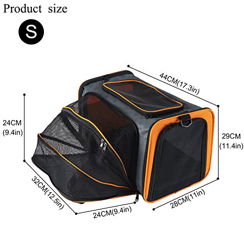 Pettom-Expandable-Foldable-Soft-sided-Travel-Carrier-for-Dog-and-Cat-16-x-11-x-9-S-Orange