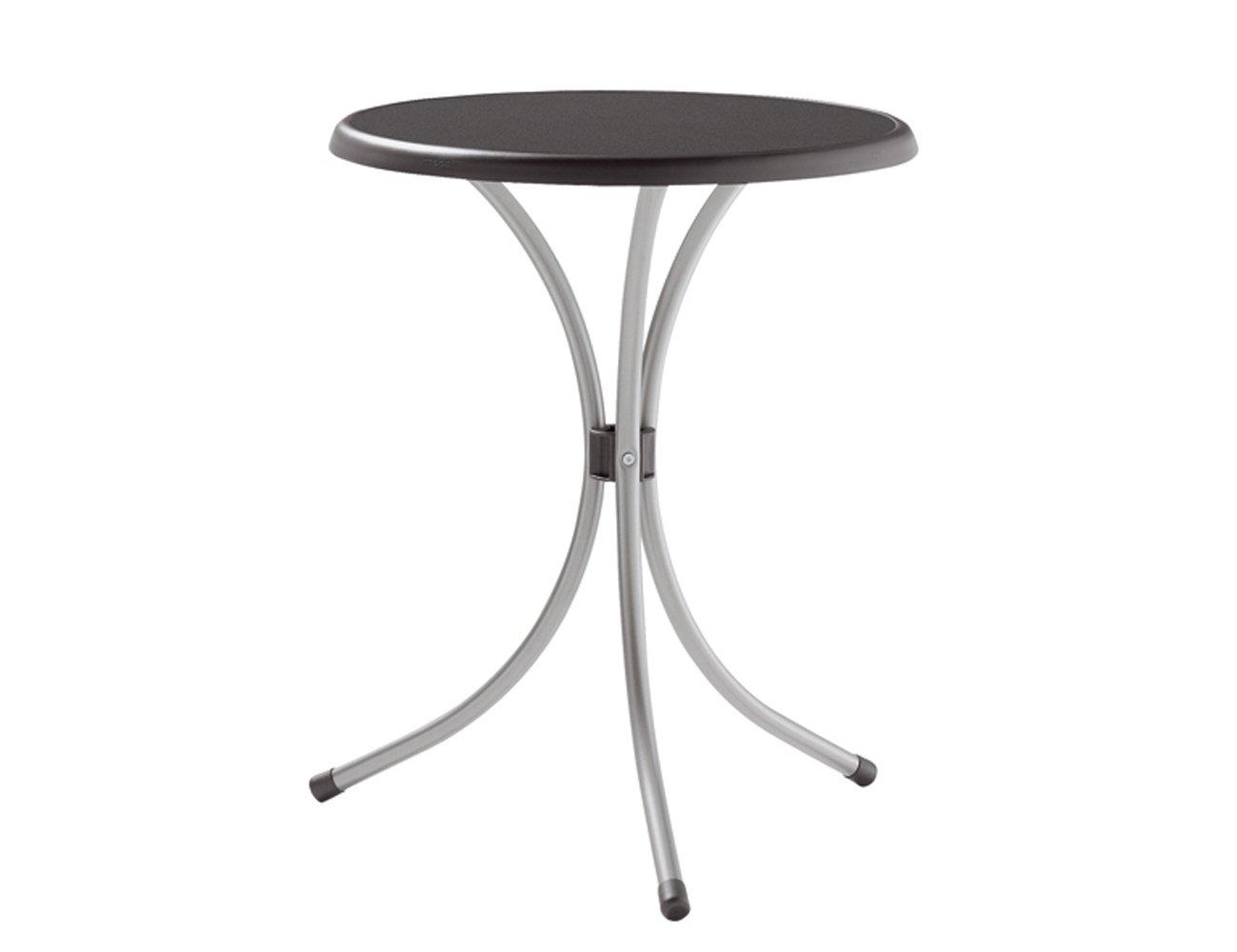 Sieger 100//W Bistro-Tisch mit mecalit-Pro-Platte /Ø 60 cm Stahlrohrgestell wei/ß Tischplatte Marmordekor wei/ß