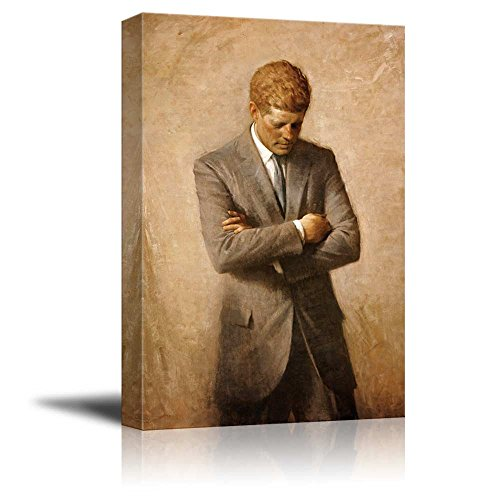 Portrait of John F. Kennedy - Inspirational Famous People Series | Giclee Print Canvas Wall Art. Ready to Hang - 16