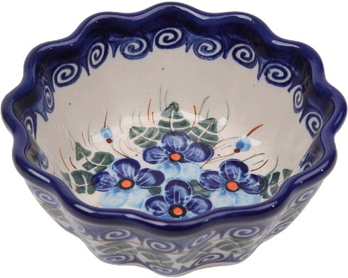 Polish Pottery Ceramika Boleslawiec, 0432/162, Bowl Babka Small, 1/2 Cup, Royal Blue Patterns with Blue Pansy Flower Motif