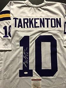 "Autographed/Signed Fran Tarkenton ""HOF 86"" Minnesota Vikings White Football Jersey JSA COA"