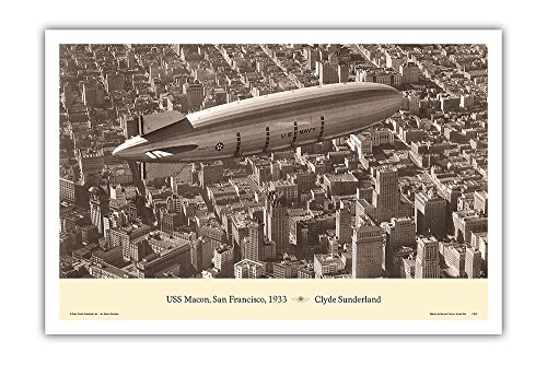 (USS Macon (ZRS-5) - San Francisco, 1933 - United States Navy - Flying Aircraft Carrier - Vintage Aviation Poster by Clyde Sunderland - Master Art Print - 12in x 18in )