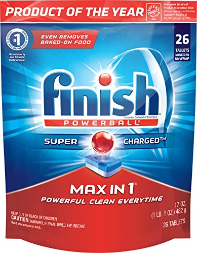 Finish Max in 1 Fresh 26 Tabs, Automatic Dishwasher Detergent Tablets (Packaging May Vary) (Dishwasher 26)