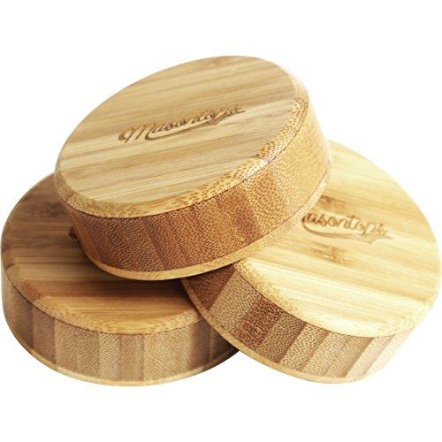 Timber Tops - Bamboo Wood Regular-Mouth Mason Jar Storage Lids with Silicone Seal - 3 Pack - Regular