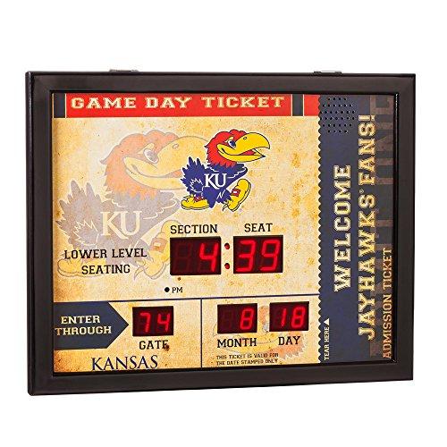 Team Sports America NCAA Bluetooth Scoreboard Wall Clock, Kansas Jayhawks