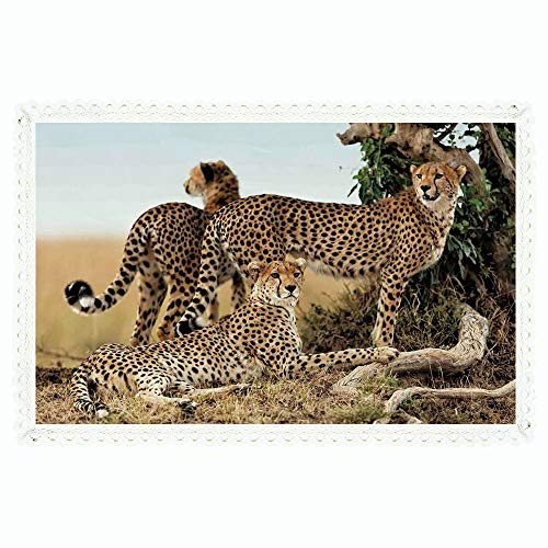 """iPrint 60""""x104"""" Rectangle Polyester Linen Tablecloth,Wildlife Decor,Cheetahs Mother and Two Young Baby Looking for Food Dangerous Exotic Animals,Tan Black,for Dinner Kitchen Home Decor"""