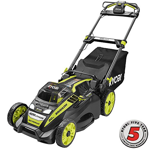 Ryobi. 20'' RY40190 40-Volt Brushless Lithium-Ion Cordless Battery Self Propelled Lawn Mower with 5.0 Ah Battery and Charger Included by Ryobi.