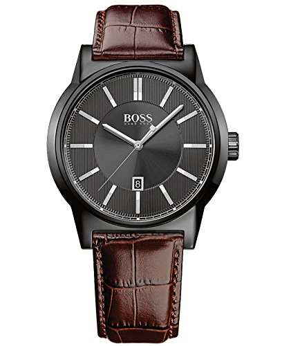 Hugo Boss Men's Boss Black Architecture Brown Leather Strap Watch 44mm 1513071