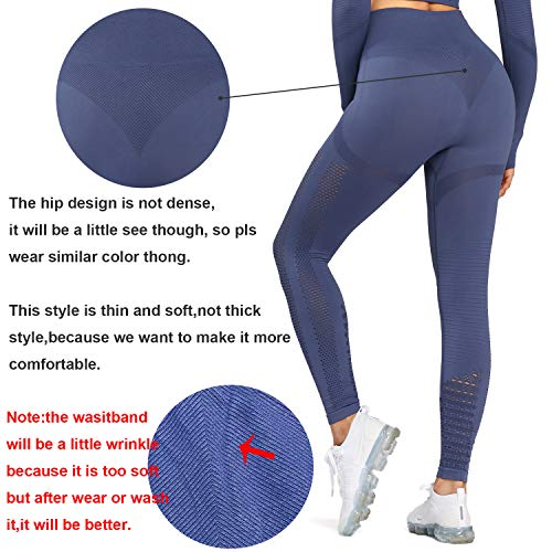 Aoxjox Women's High Waist Workout Sport Gym Arise Prime Seamless Leggings Yoga Leggings (Deep Blue, X-Small)