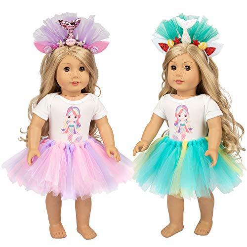 [해외]ZQDOLL 인형 옷 및 액세서리 45.72cm 소녀 인형 Outfis 인어 레인보우 스커트 40.64cm - 45.72cm 아기 인형 | 어린이 최고의 생일 / ZQDOLL Doll Clothes and Accessories for 18 Inch Girl Doll Outfis Mermaid Rainbow Skirt for 16 - 18 Baby Dol...