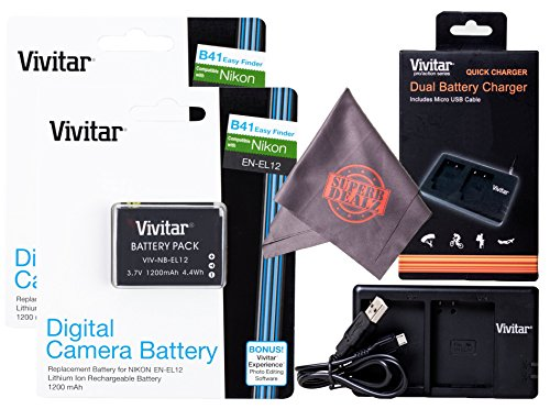 2 Pack Vivitar EN-EL12 Ultra High Capacity Rechargeable 1200mAh Li-ion Batteries + Vivitar Dual Charger + Microfiber Lens Cleaning Cloth for NIKON Coolpix Cameras (Nikon EN-EL12 Replacement)