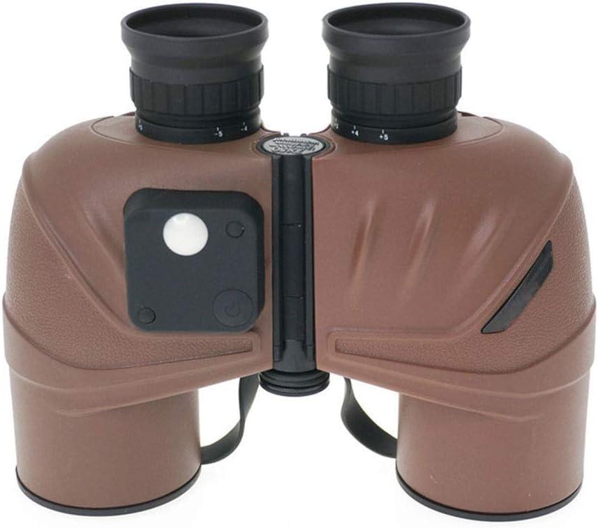 ZGQA-AOC Monocular telescopio binoculares BAK4 7 * 50 waterpoof de gran aumento HD Prismáticos con brújula van Coordenadas for Marine Cruise Senderismo caza de aves Observación de Brown (Color: Marrón