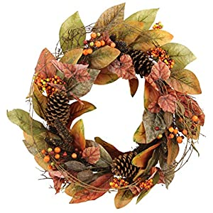 """Admired By Nature GFW7014-Natural 24"""" Faux Magnolia Leaf Vine Pinecones Berry Wreath 30"""