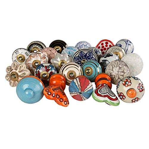 Multi Color Ceramic Door Knob - Set of 25 Pc - Indian Handmade Cabinet Knobs with Brass Blue Pottery Flower Kitchen Cupboard Door Dressser (Ceramic Kitchen Cabinet Knobs)