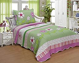 FT Home Fashion Kids Girls Twin Size Green Pink Striped Floral Print Coverlet Set, 2 Pieces